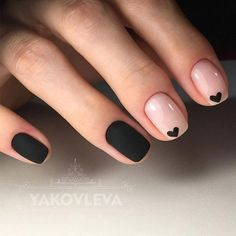 Cool Black Nail Designs to Try Now How to use nail polish? Nail polish in your friend's nails looks perfect, h Heart Nail Art, Heart Nails, Heart Art, Heart Ring, Black Nail Designs, Cute Nail Designs, Simple Nail Art Designs, Gel Polish Designs, Short Nail Designs