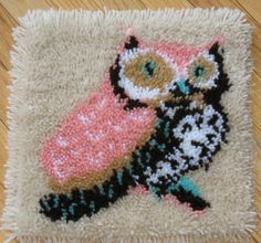pink owl latch-hook