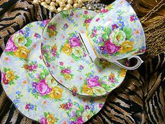 ROYAL ALBERT TEA CUP AND SAUCER TRIO ROSE AND FLORAL CHINTZ PATTERN GOLD in Pottery & Glass, Pottery & China, China & Dinnerware | eBay
