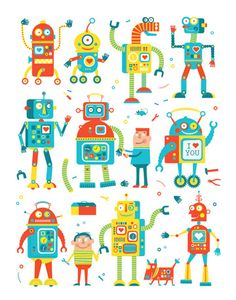 Project 2: Robot Design-flat graphics could be good in small doses to contrast realistic (hopefully) robot (Robots by Ed Miller Design, via Behance