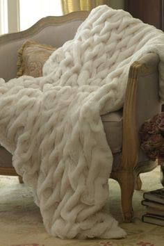 Faux Fur Throw by Soft Surroundings. Perfect Cozy and chunky blanket for the living room! Faux Fur Throw, Cozy Blankets, Soft Surroundings, My New Room, Luxury Bedding, Decoration, Feng Shui, Warm And Cozy, Relax