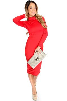 The perfect dress for any occasion! This dress features turtle neck style, long sleeves, knee length followed by a body con fitted wear. 100% http://www.amiclubwear.com/party-dress.html