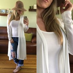 Last One▪️ Long White Open Cardigan Brand New, without tags. Excellent condition, never been worn. Size Medium (modeling) available. Both sizes fit me, but small fits much better, I just wanted to show the bigger size. Very comfy and easy to pair. Great for spring and summer as its white and lightweight. Price Firm.  67% Poly 29% Rayon 4% Soandex Sweaters Cardigans