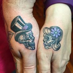 Image result for sugar skull couple tattoo #coupletattooideas