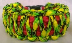 Paracord Bracelet Festive Rasta Red Yellow Green King Cobra