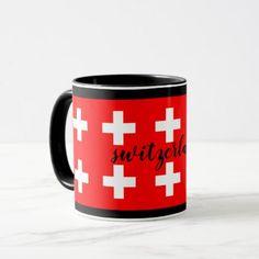 Switzerland swiss flags red custom script mug - cyo diy customize unique design gift idea