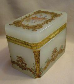 """antique casket boxes   Magnificent Antique French Opaline Casket Hinged Box """"Putti"""""""