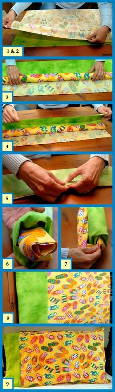 "The ""Hot Dog"" approach to sewing a pillowcase that makes it ""sew"" easy!!!  Link to the full instructions: http://www.conkerrcancer.org/files/hotdoginstructions.pdf"