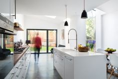 Kitchen extension - flipping our current layout also works? Kitchen Diner Extension, Open Plan Kitchen, Interior Exterior, Interior Architecture, Interior Design, Apartment Therapy, Layout Design, Design Ideas, New Build Developments