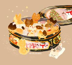 Cat Ornaments and Cookie Tin.