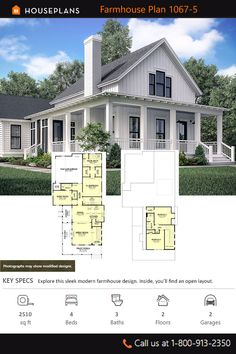 This farmhouse design floor plan is 2510 sq ft and has 4 bedrooms and has 3 bathrooms. New House Plans, Dream House Plans, Small House Plans, House Floor Plans, Modern Farmhouse Design, Modern Farmhouse Exterior, Farmhouse Style, Farmhouse House Plans, Craftsman Farmhouse