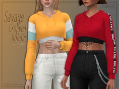 Cropped long-sleeve hoodie. Since it's ultra cropped, I recommend using my Drip Accessory Top as shown on the first picture. (Link in the Recommended tab) Found in TSR Category 'Sims 4 Female...