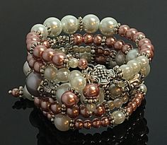 Cream & Pink Memory Wire Bracelet Pearl Cuff by TheaDesignConcepts