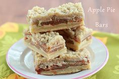 Apple pie bars from Roxanashomebaking.com Cinnamon flavored bars with a buttery crust, apple slices, custard and streusel topping