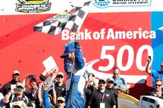 Jimmie Johnson Photos Photos - Jimmie Johnson celebrates in victory lane after winning the NASCAR Sprint Cup Series Bank of America 500 at Charlotte Motor Speedway on October 9, 2016 in Charlotte, North Carolina. - NASCAR Sprint Cup Series Bank of America 500