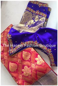 Latest designer blouses by The Hanger Fashion Boutique - 9490192436 Wedding Saree Blouse Designs, Best Blouse Designs, Maggam Work Designs, Kurta Neck Design, Maggam Works, Fashion Boutique, Work Blouse, Organza Saree, Simple Embroidery