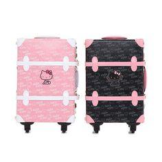 "Hello Kitty Rolling Wheeled Luggage Travel Bag Suitcase 18"" Girls / Pink Black / EBAY ID, STORE - iamtov"
