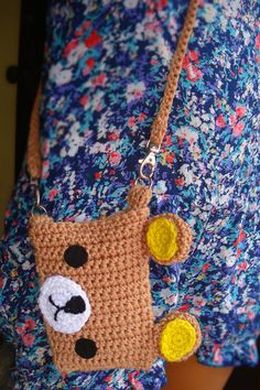 The most adorable bear in japan <3!  This is a handmade crocheted purse/pouch inspired by Rilakkuma (designed by Aki Kondo)  made with 100% Acrylic yarn in Light Brown with felted black eyes. Includes a black button for closure.  It includes a detachable strap so you can use is as a purse or a po...