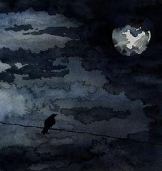 Raven Moonlight Night Sky Art Watercolor by BrazenDesignStudio Watercolor Night Sky, Watercolor Paintings, Nocturne, Black Bird Fly, Full Moon Night, Moon Painting, Painting Art, Sky Art, Bird Art