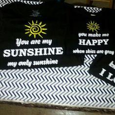 You are my sunshine (handmade)matching t shirt set 3 tee set Shirt colors : white, black, gray Vinyl colors: white, black, yellow Tops Tees - Short Sleeve