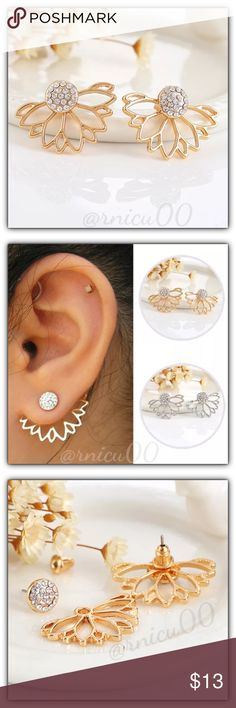 🌟Flower Rhinestone Jacket Stud Gold Earrings! Jacket Style Earrings are On Trend again this year, with many fun Adorable styles to choose from! These match any Fashion Style & can easily be dressed up or down!👌 • Available in Silver in Separate listing• * 2 Ways to Wear in 1! Wear Jacket Style -or- Stud Alone! * Mix & Match your Styles by Wearing different Studs with the Jackets! - Hypoallergenic, Lead & Nickel Free Gold Plating *NO TRADES *Prices are FIRM-Listed at Lowest Price Unless…
