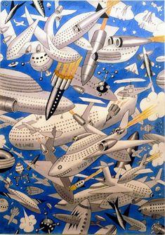 Le ciel en l'an 2100 - by Albert Dubout Art Et Illustration, Illustrations, Albert Dubout, Son Chat, Les Oeuvres, Photos, Images, Museum, Comics