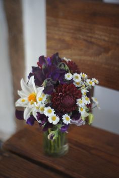 Burgundy dahlias with one shining star!