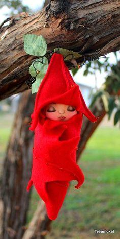 Sleeping Fairy Baby Fabric and Felt Art Doll