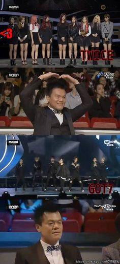 JYP reaction (Girls Vs Boys) -- I love him, he just seems like he adores his kids