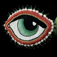 Céleste Mogador Beaded Embroidery, Embroidery Designs, Heart Artwork, Textiles, Eye Art, Textile Art, Crochet, Needlework, Sewing Projects