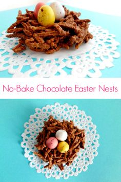 No-Bake Chocolate Easter Nests Recipe - super-cute easter cookies that are so easy even little kids can help out with | www.pinkrecipebox.com