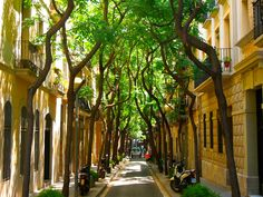 Street in Barcelona Barcelona Street, Visit Barcelona, Barcelona Catalonia, Barcelona Travel, Beautiful Places In Spain, Beautiful Space, Cool Places To Visit, Places To Go, What A Wonderful World