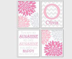 You are My Sunshine Pink Gray Baby Nursery Wall Art Flower Burst Customize Baby Nursery Prints Girl Room Decor Pink Gray Bedding 3 PRINT SET...