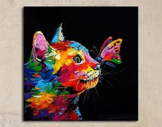 Cat and butterfly acrylic painting on canvas by SumareeART on Etsy Butterfly Acrylic Painting, Rainbow Painting, Acrylic Painting Canvas, Abstract Canvas, Black Canvas Paintings, Simple Acrylic Paintings, Animal Paintings, Pop Art Drawing, Lion Painting