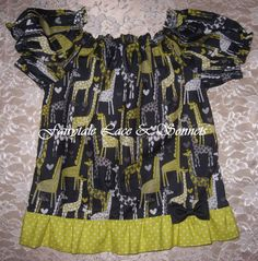 RTS Tiffany Top Size 2T/3T Giraffe Peasant by FairytaleLaceSonnets, $20.00