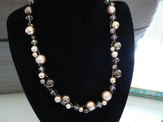 Pearl necklace Twisted pearl necklace Swarovski by KarsJewellery