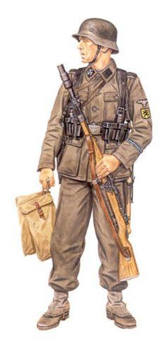 Soldado de las SS, 27ª SS Grenadier Division Langemarck, cabeza de puente Altdamm, 1945.
