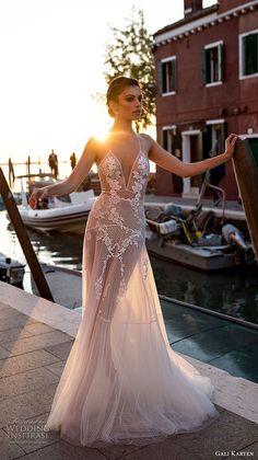 gali karten 2018 bridal spaghetti strap deep v neck heavily embellished bodice romantic soft a line wedding dress open scoop back sweep train (6) mv