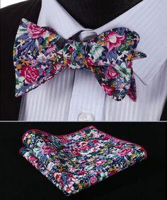BMF201K Pink Blue Floral 100%Cotton Jacquard Men Self Bow Tie BowTie Pocket Square Handkerchief Hanky Suit Set
