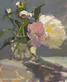 Peonies in Sun Roos Schuring, Peonies, A good still life often has a fascinating play of light.Roos Schuring, Peonies, A good still life often has a fascinating play of light. Sun Painting, Oil Painting Flowers, Painting Still Life, Still Life Art, Paintings I Love, Abstract Flowers, Beautiful Paintings, Paint Flowers, Floral Paintings