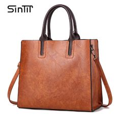 Cheap sac a, Buy Quality sac brand directly from China pu leather handbags Suppliers: SINTIR Brand Women Pu Leather Handbags Ladies Large Tote Bag Female Square Shoulder Bags Bolsas Femininas Sac A Main Brown Black Retro Vintage, Style Vintage, Vintage Fashion, Vintage Ladies, Large Bags, Large Tote, Branded Bags, Luxury Handbags, Women's Handbags