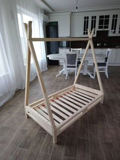 This item is unavailable Toddler bed kid's bed montessori bed house bed teepee bed wooden bed Scandinavian style Kids Bedroom Furniture, Bedroom Decor, Furniture Design, Bedroom Kids, Master Bedroom, Teepee Bed, Kids Bunk Beds, Loft Beds, Attic Renovation