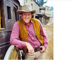 Gunsmoke matt dillon with cowboy hat | ... is photographed on the 'Gunsmoke' set Courtesy of MPTV Images / IMDB