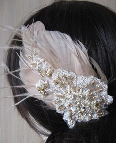 Wedding feather fascinator Vintage art deco bridal Hair clip nude champagne beige taupe/blush gold ivory lace rhinestone wedding hairpiece. $48.00, via Etsy. Maybe swap with veil for evening?