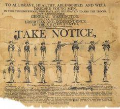 Broadside Soliciting Recruits, 1775