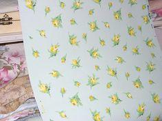 1930s Vintage Wallpaper Jadeite Yellow Rose Buds Journals Crafts Furniture Yardage  VINTAGE 1930S BARKCLOTH ERA WALLPAPER WITH YELLOW ROSE BUDS