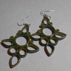 Green  handmade paper earrings Wearable  art #Handmade
