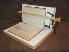 In-situ Repair Conservation Book Holder. Built by Jim Poelstra.