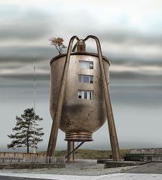Steampunk Meets Architecture: Habitat Machines & Factories by David Trautrimas Unusual Buildings, Interesting Buildings, Amazing Buildings, Le Corbusier, Antonio Gaudi, Crazy Home, Steampunk, Unusual Homes, Unusual Art