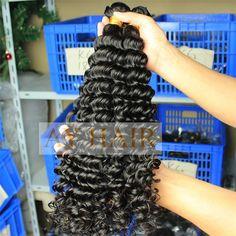 100% Pure Human Virgin Hair Deep Wave Unprocessed Brazilian Off Black Color | Wholesale Hair Extension Factory